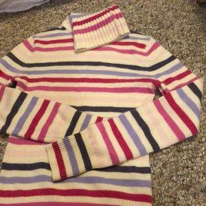 Cashmere striped turtle neck